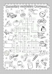 English Worksheet: Elementary Vocabulary Crossword