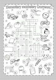 English Worksheets: Elementary Vocabulary Crossword