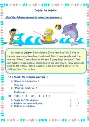 English Worksheet: Dolphy the Dolphin
