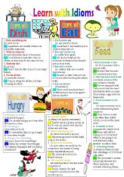 English Worksheets: Learn with Idioms(Part 20): Idioms with Dish, Eat, Feed, Hungry, and Spoon ( B&W Version)