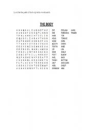 English Worksheets: WORDSEARCH THE BODY