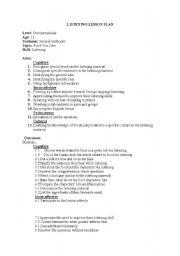 English worksheet: listening lesson plan