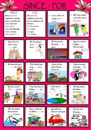 English Worksheets: SINCE - FOR