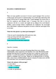 English Worksheets: Reading Comprehension short passages and questions (low intermediate level)
