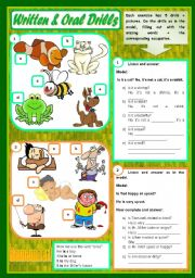 English Worksheet: Written & Oral Drills � Vocabulary (animals, adjectives, food, weather) and grammar (to be, there to be, some / any) 4 exercises with 5 drills each � instructions for the listening [audio transcription included] ((4 pages)) ***editable