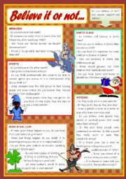 English Worksheet: Believe it or not… - conversation cards (mermaids, witches, Santa Claus, ghosts, good / bad luck) ***editable