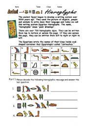 English Worksheet: Egypt Hieroglyphs