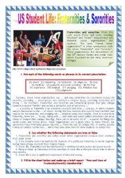 English Worksheets: US Student Life: Fraternities & Sororities