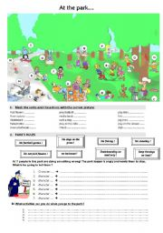 English Worksheet: at the park (interdictions)