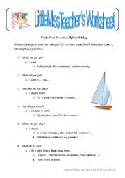 English worksheet: My Last Holidays - guided text production activity