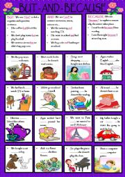 English Worksheets: BUT - AND -BECAUSE