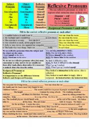 English Worksheet: Reflexive Pronouns + each other.
