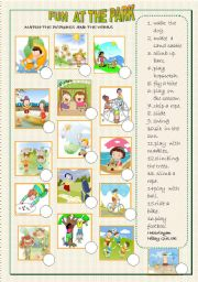 English Worksheet: park activities matching
