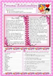 English Worksheets: Dear Diary... (2 pages+key)