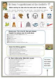 English Worksheet: Mr Bean�s daily routine