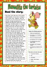 Manuelita the tortoise. Reading( 3 PAGES)+ Answer the questions+ Find words in the text+True or false+regular and irregular verbs+write a postcard