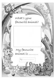 English worksheet: Favorite animal- portfolio page