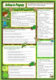English worksheet: Actions in Progress – Present Continuous practice with a brief introduction [7 easy tasks for beginners] KEYS INCLUDED ((2 pages)) ***editable