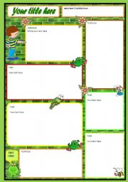 english worksheets template green wall with clipart and word