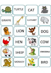 English Worksheets: MeMORY GAME ANIMALS FIRST PART