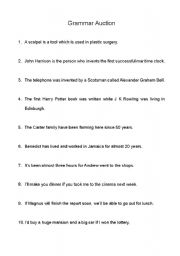 English Worksheets: Grammer Questions For Auction