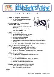 English worksheet: My House and My Bedroom - written production