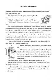 English Worksheets: The Leopard that Lost a Spot