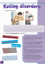 English worksheets: eating disorders worksheets, page 2