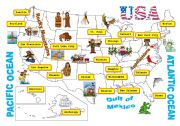 English Worksheet: USA-map