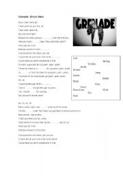 English Worksheets: Gap fill Grenade Bruno Mars