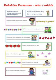 English Worksheets: relative pronouns - who, which