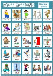 English Worksheet: PAST ACTIONS PICTIONARY - regular verbs (2)