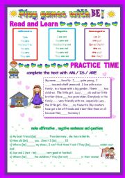 English Worksheet: PLAY GAMES WITH BE