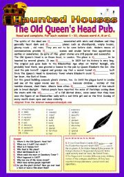 English Worksheets: HAUNTED HOUSES: THE OLD QUEEN�S HEAD PUB.
