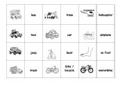 English Worksheets: memory game or picture match with means of transportation
