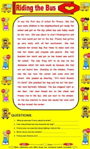 English Worksheets: Comprehension and True and False - Riding the Bus