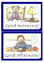 English Worksheet: Greetings-parts of the day-  Flashcards