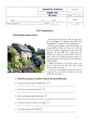 English Worksheet: English 6th form test