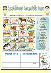 English Worksheets: REVIEW - Countable and Uncountable Nouns