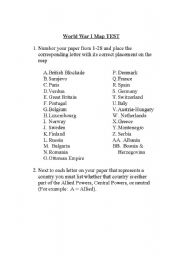 English Worksheet: World War I map test