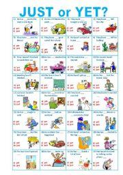 English Worksheet: JUST or YET? ****mutiple choice**** editable
