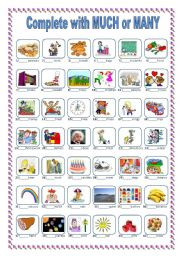 English Worksheet: COMPLETE WITH  ��MUCH�� or ��MANY�� ***EDITABLE***