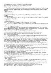 English Worksheet: a transcript of