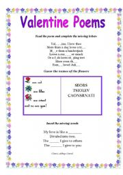 English Worksheet: Valentine Poems