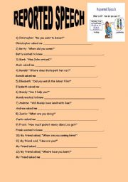 English Worksheets: REPORTED SPEECH QUESTIONS