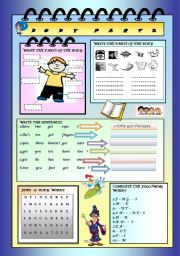 English Worksheets: PARTS OF THE BODY