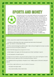 English Worksheet: SPORTS AND MONEY. DO FOOTBALL PLAYERS DESERVE ALL THE MONEY THEY EARN? A CONTROVERSIAL ISSUE. YOLANDA
