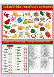English Worksheet: Food and drinks, countable and uncountable nouns