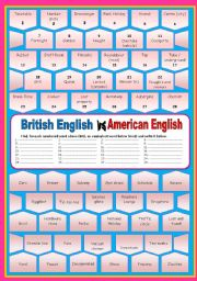 English Worksheets: British English versus American English (with key)