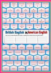 English Worksheet: British English versus American English (with key)